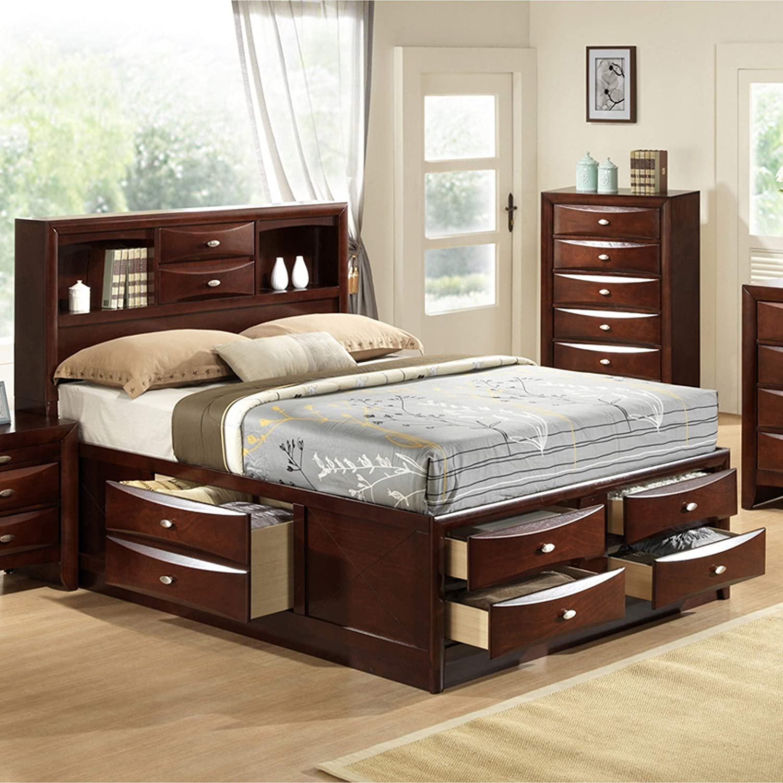 0238788df2dc Amazon.com: Roundhill Furniture Emily 111 Wood Storage Bed, King, Merlot:  Kitchen & Dining