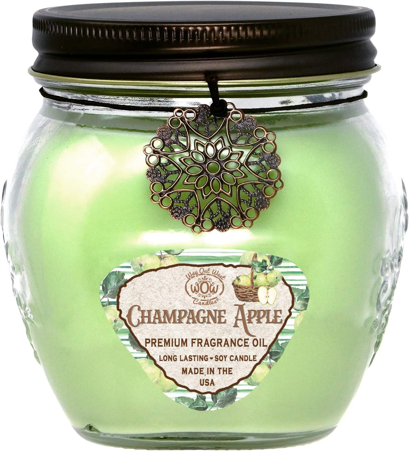 Scented Jar Candle Champagne Apple - 17 Oz Long Lasting Soy Blend - Made in USA by Way Out West for Mom
