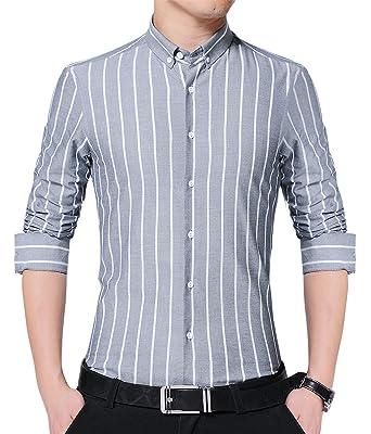49dc3993 JKWES Men's Fashionable Casual Slim Fit Vertical Striped Button Down Dress  Shirt US XXS Grey