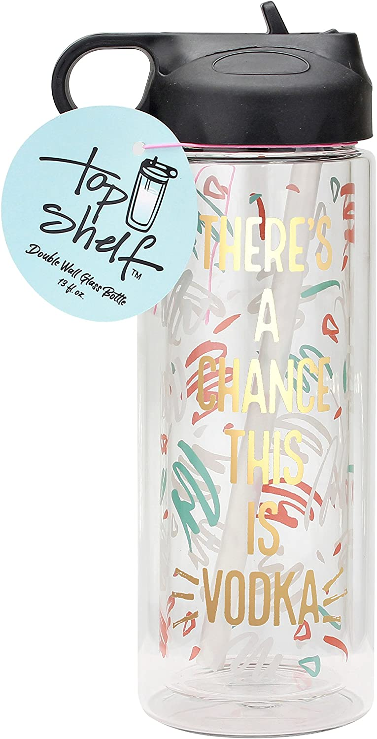 Top Shelf chance this is Vodka Glass Double Wall Water Bottle, 15.8oz, Multi-Colored