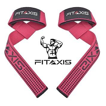 FITAXIS Gimnasio Pesas Correas Levantamiento Crossfit Elevación Gym Straps Deportivas. (Pink/Black,