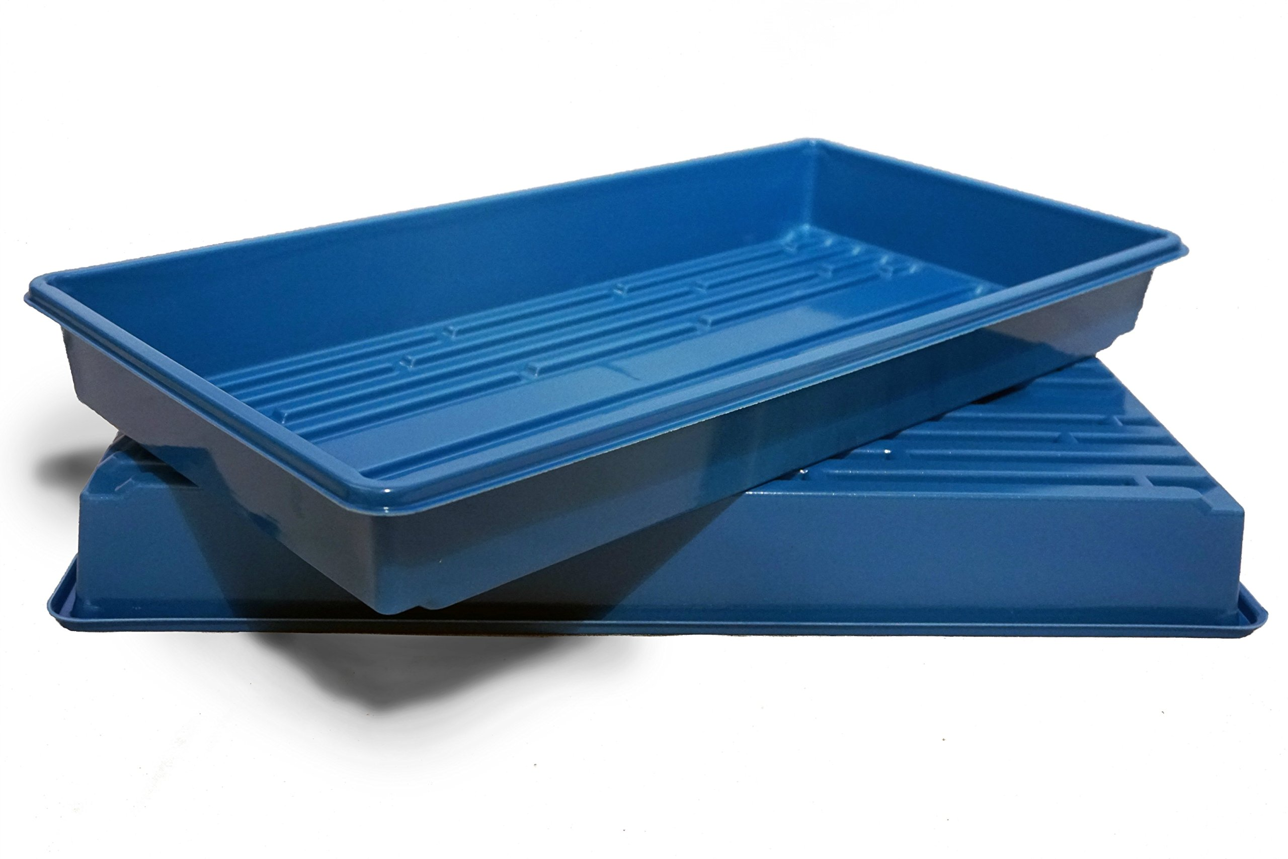 Made in USA Blue 1020 Growing Tray for garden seeds, Microgreens, Wheatgrass (No Drain Holes) (2, Blue)