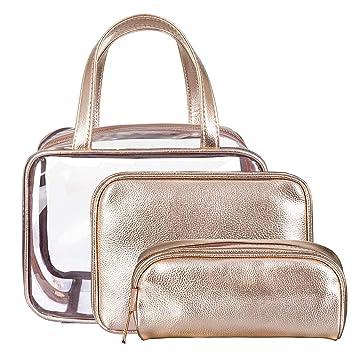 5258d04d822d NiceEbag 3 in 1 Makeup Bag Set Clear Cosmetic Bag Portable Make Up  Organizer Stadium...