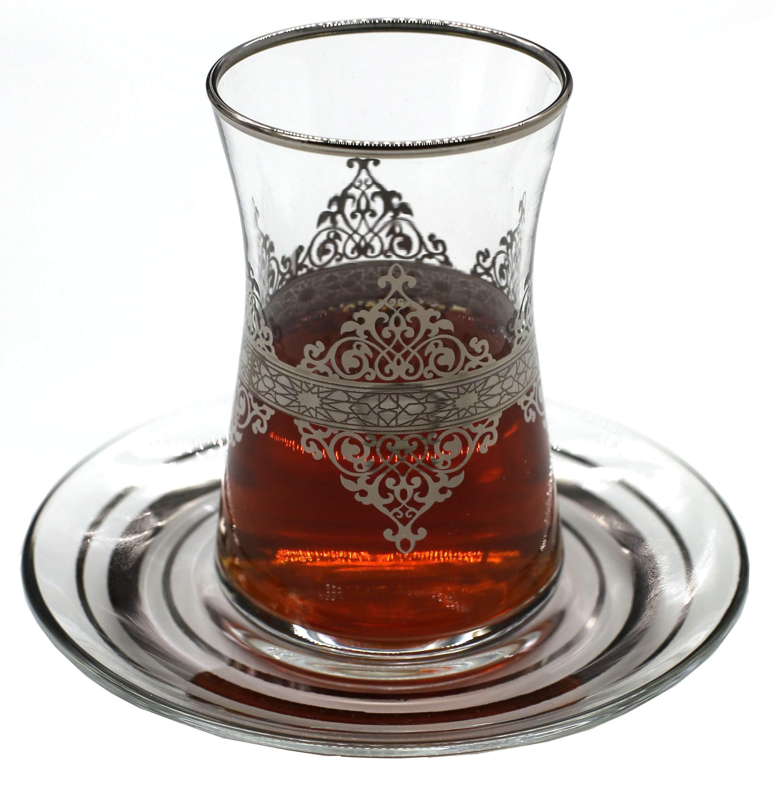 Nida Platinum Turkish Tea Glasses with Saucers Set (Set of 6) 5 Ounces