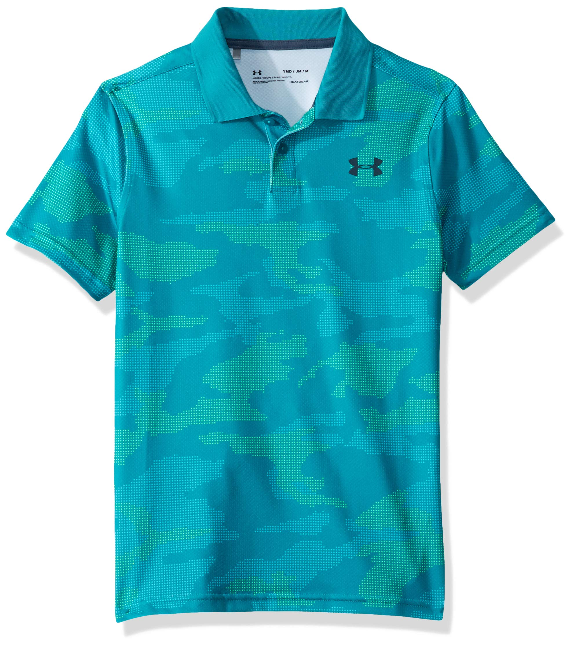 Under Armour Boys' Performance Polo 2.0 Novelty, Teal Rush//wire, Youth X-Small by Under Armour