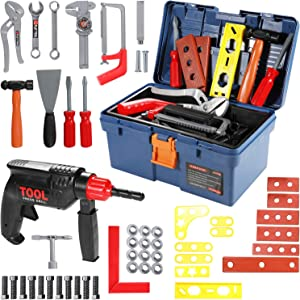 Geyiie Kids Toy Tool Set, 31PCS Durable Tool Set Toys with Electronic Cordless Drill, Other Pretend Play Construction Accessories, A Sturdy Case for Age 3+ Toddlers Practical Ability