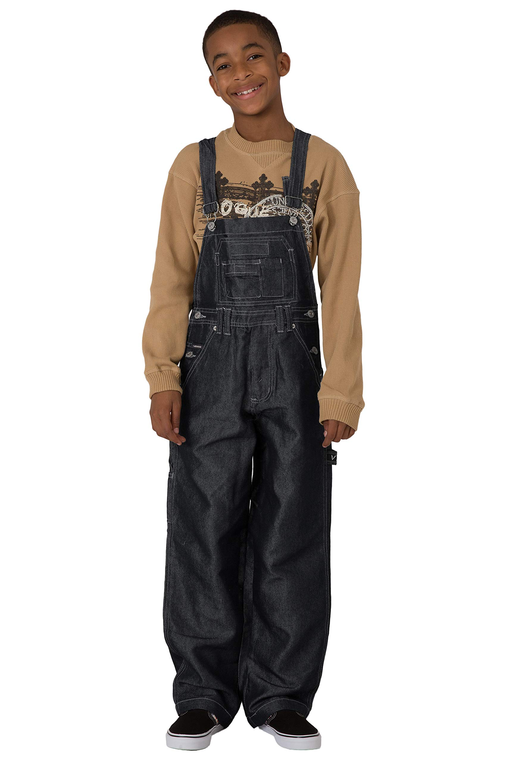 Vibes Boy's Black Shiny Denim Carpenter Overalls Relax Fit Size M