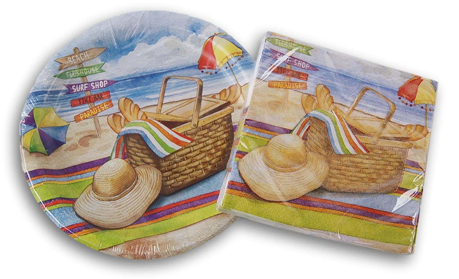 Beverage Napkins Party Creations 16 Cake Plates and 8 Beach Surf Picnic Party Supplies -