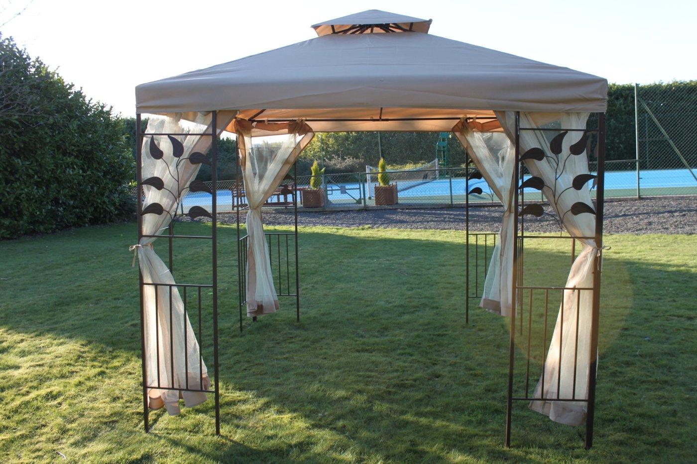 Blattdesign, 2,5 m im Quadrat, Garten-Pavillon, beige ...