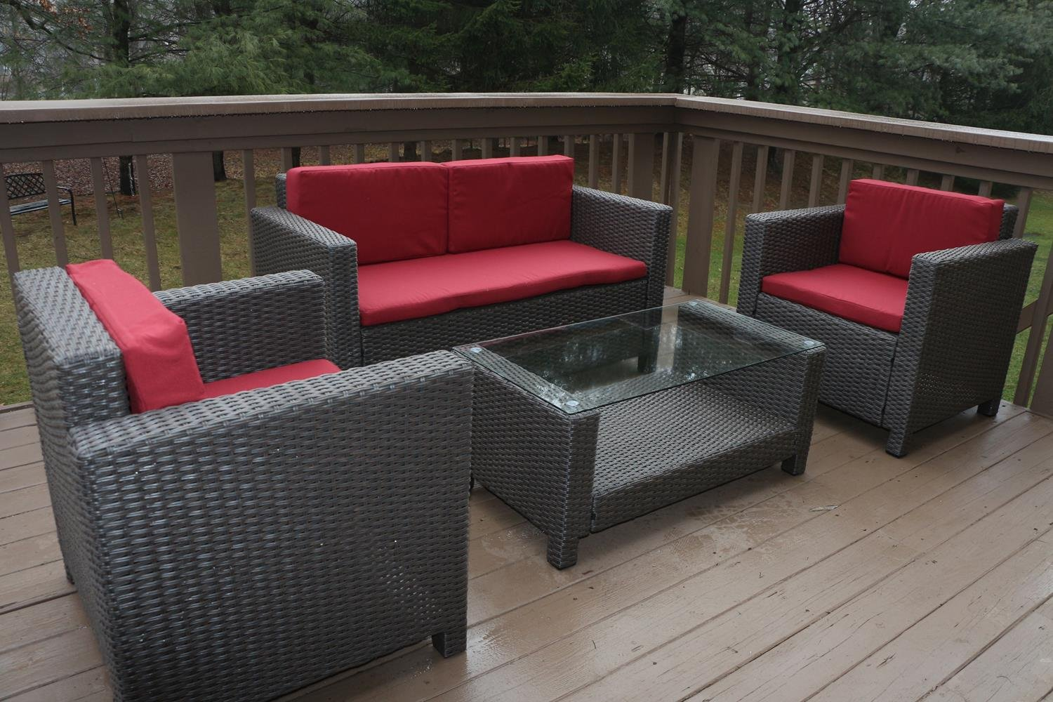modern outdoor furniture cheap. Amazon.com: Oliver Smith - Large 4 Pc Modern Rattan Wiker Sofa Set Outdoor Patio Furniture Aluminum Frame With Ottoman 1127 Red: Kitchen \u0026 Dining Cheap O