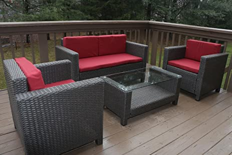Oliver Smith   Large 4 Pc Modern Rattan Wiker Sofa Set Outdoor Patio  Furniture   Aluminum
