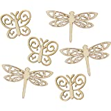 Country Love Crafts Butterfly and Dragonfly Shaped Wooden Craft Blank, Light Brown