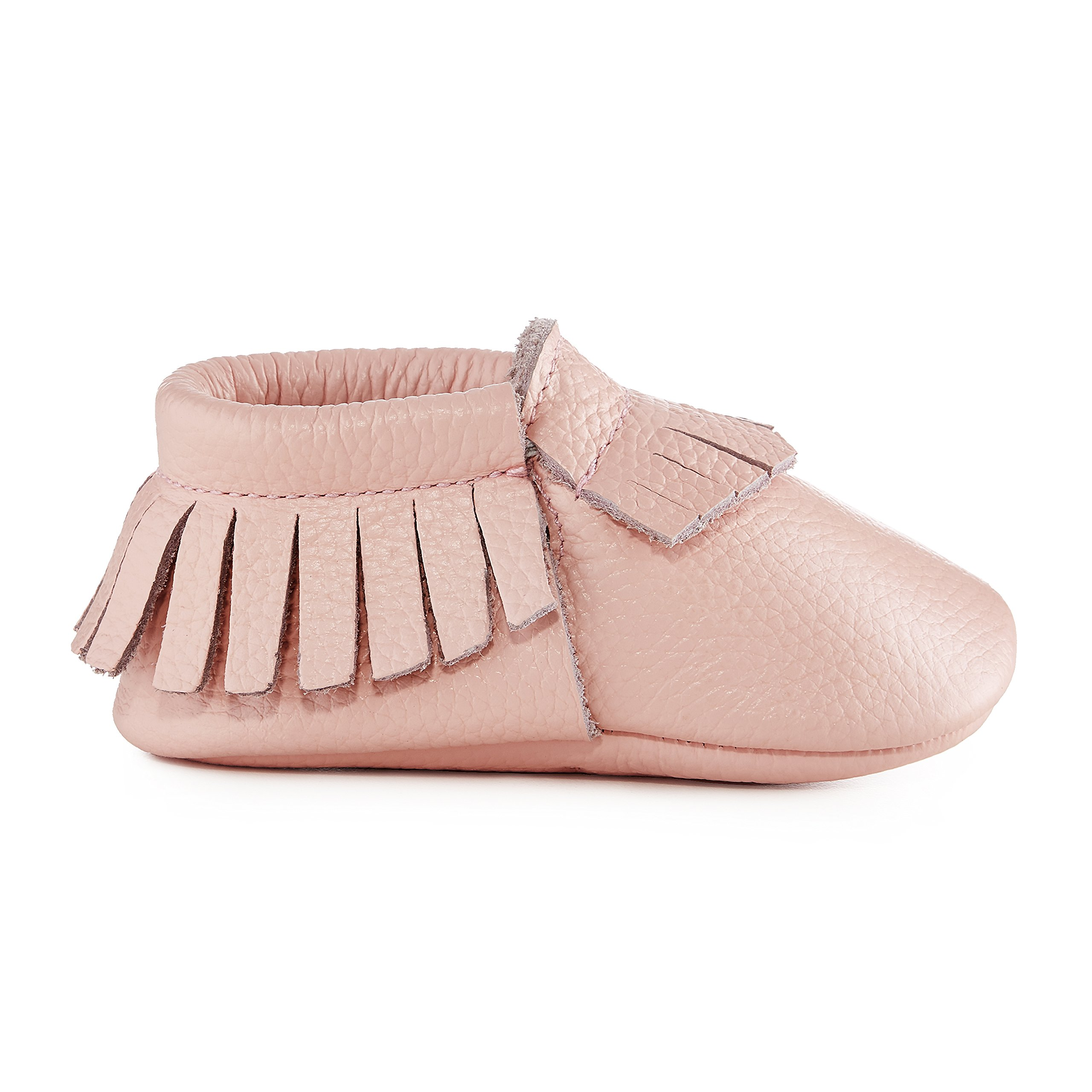 Babe Basics Baby Moccasins Soft-Soled Genuine Leather Moccasins for Babies and Toddlers (Medium, Light Pink)
