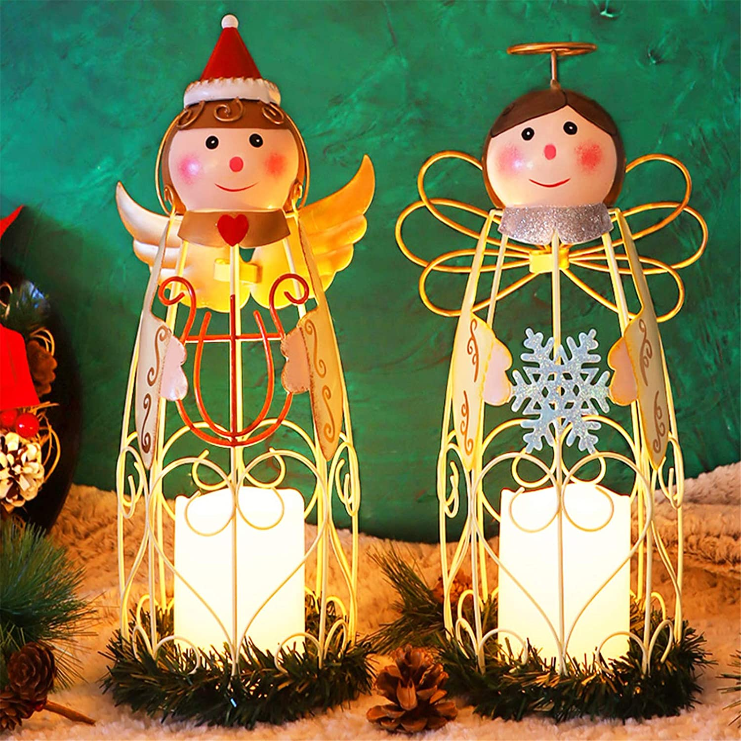 Juegoal Christmas Angel LED Candle Lantern Lights Battery Operated Lighted Christmas Table Decorations Xmas Holiday Party Decor, Set of 2