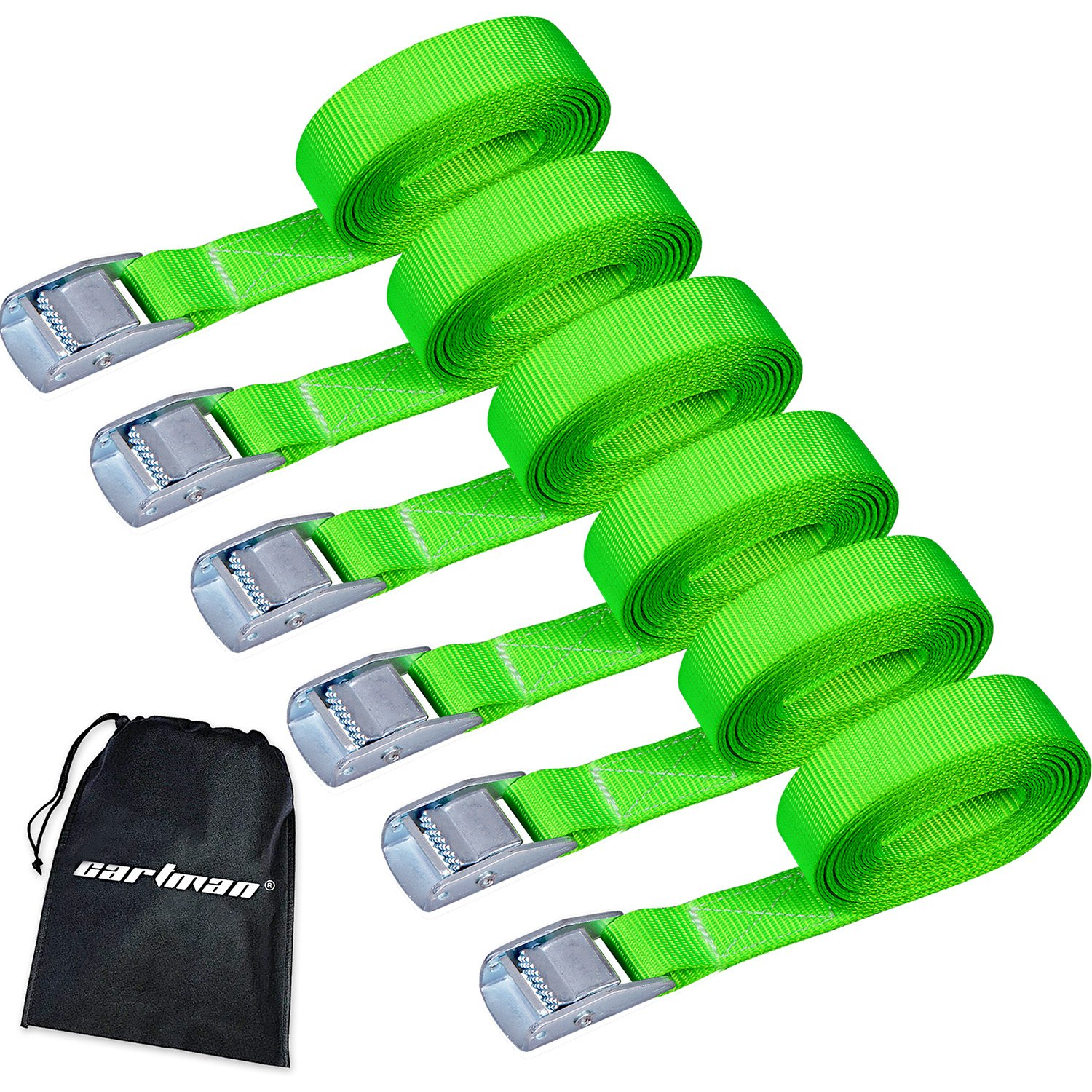 CARTMAN Lashing Straps up to 600lbs, 6pk in Carry Bag, Green Color by CARTMAN