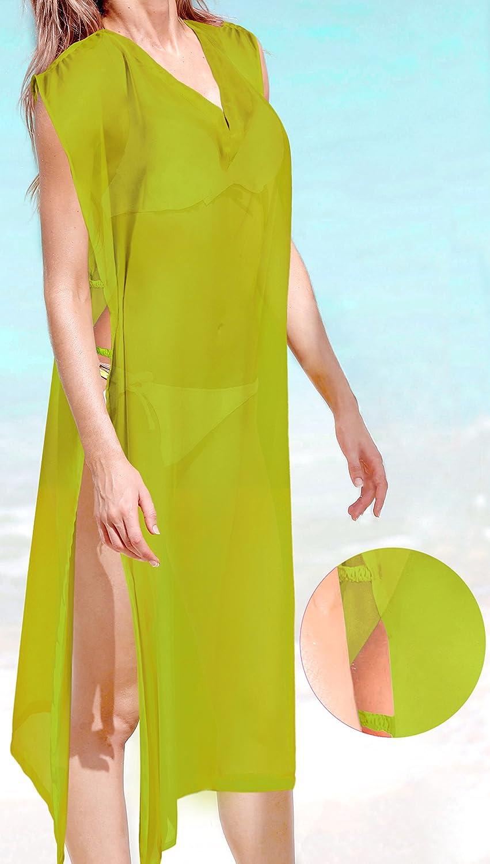 LA LEELA Womens Swimsuit Bikini Stylish Beach Cover Up Kaftan Solid Plain A
