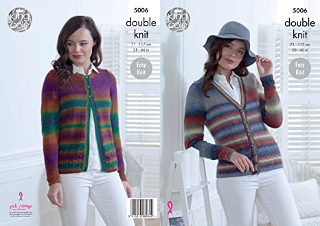 a7cc88472 King Cole Ladies Easy Knit Double Knitting Pattern Womens Round or V Neck  Cardigans (5006)  Amazon.co.uk  Kitchen   Home