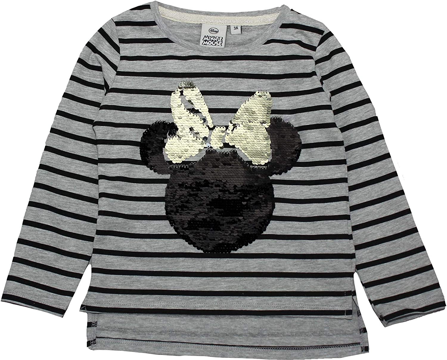 Minnie Mouse Girls Sequins Reversible Stripe Long Sleeve T Shirt 3-8 Years