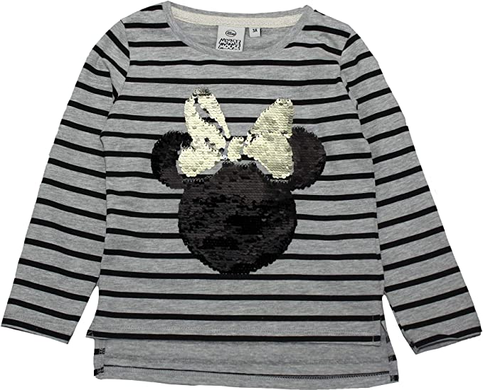 Minnie Mouse Girls Sequins Reversible Stripe Long Sleeve T Shirt 2-8 Years