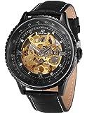 KS KS114 - Reloj Mecánico Hombre, Correa de Cuero Negro