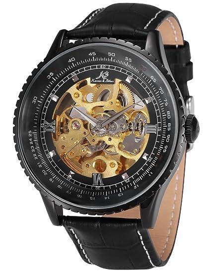 KS Reloj para Hombre Mecánico Esqueleto Automático con Correa de Cuero Nergo KS114: Amazon.es: Relojes