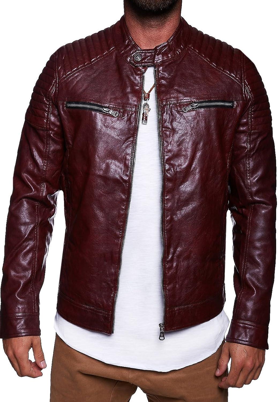 MT Styles Biker style PU Men's leather jacket M-1004