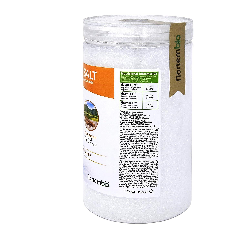 NortemBio Sal de Epsom 1,25 Kg. con Aceite Esencial de Canela. con Vitamina C y E. Calidad Alimentaria. Especial para Baños.: Amazon.es: Hogar