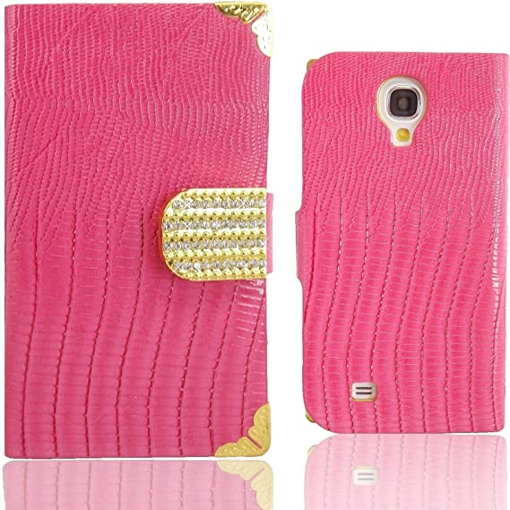 WwWSuppliers Luxury Fashion Crocodile Leather Bling Rhinestones Wallet Cases for Samsung Galaxy S4 Card Cash Wallet Purse Cover + Free Screen ...
