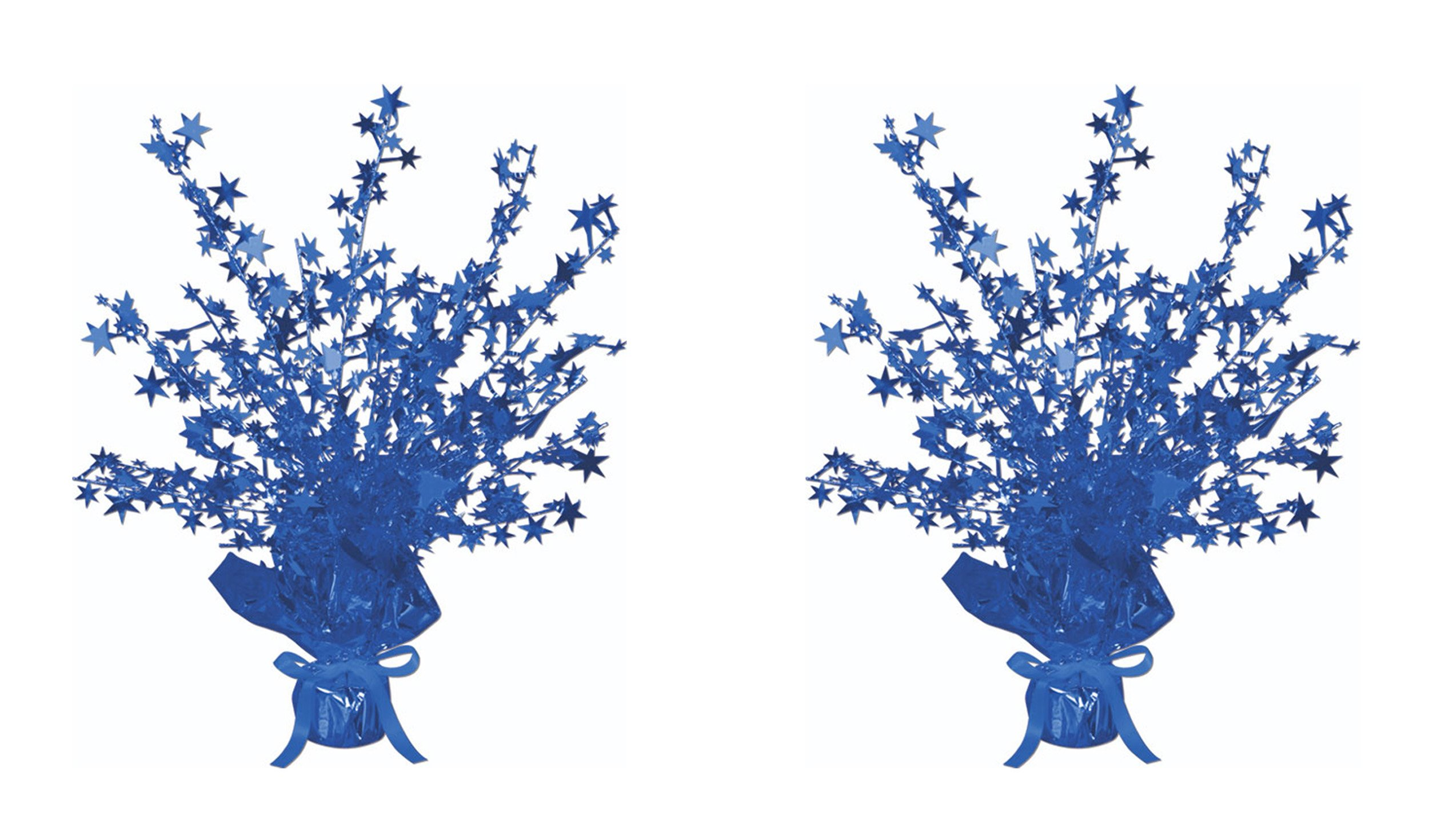 Beistle S50806BAZ2, 2 Piece Star Gleam 'N Burst Centerpieces, 15'' (Blue)