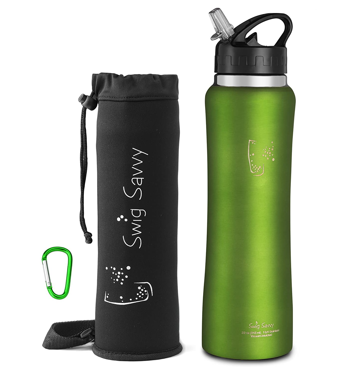 Sports Water Bottle Long Straw: Swig Savvy Stainless Steel Insulated Water Bottle With