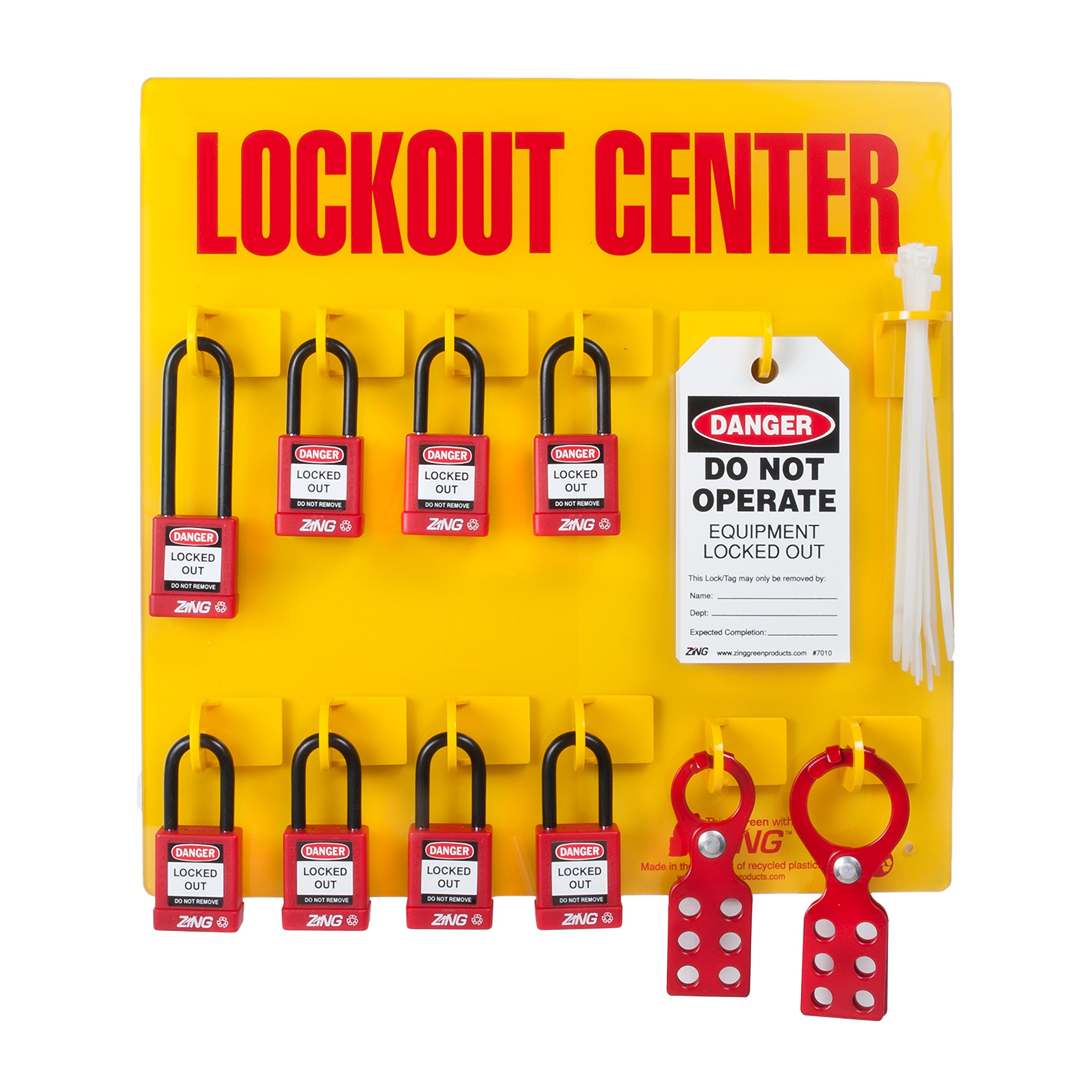 Lockout Station, Filled, 8 Padlocks by Zing