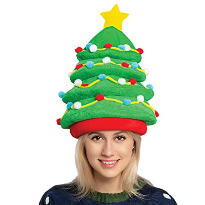 JOYIN Plush Christmas Tree Hat for Festive Party Dress Up Celebrations, Winter Party Favor, Christmas Decorations, Beanie Costume Accessories Green: Clothing [5Bkhe0303299]