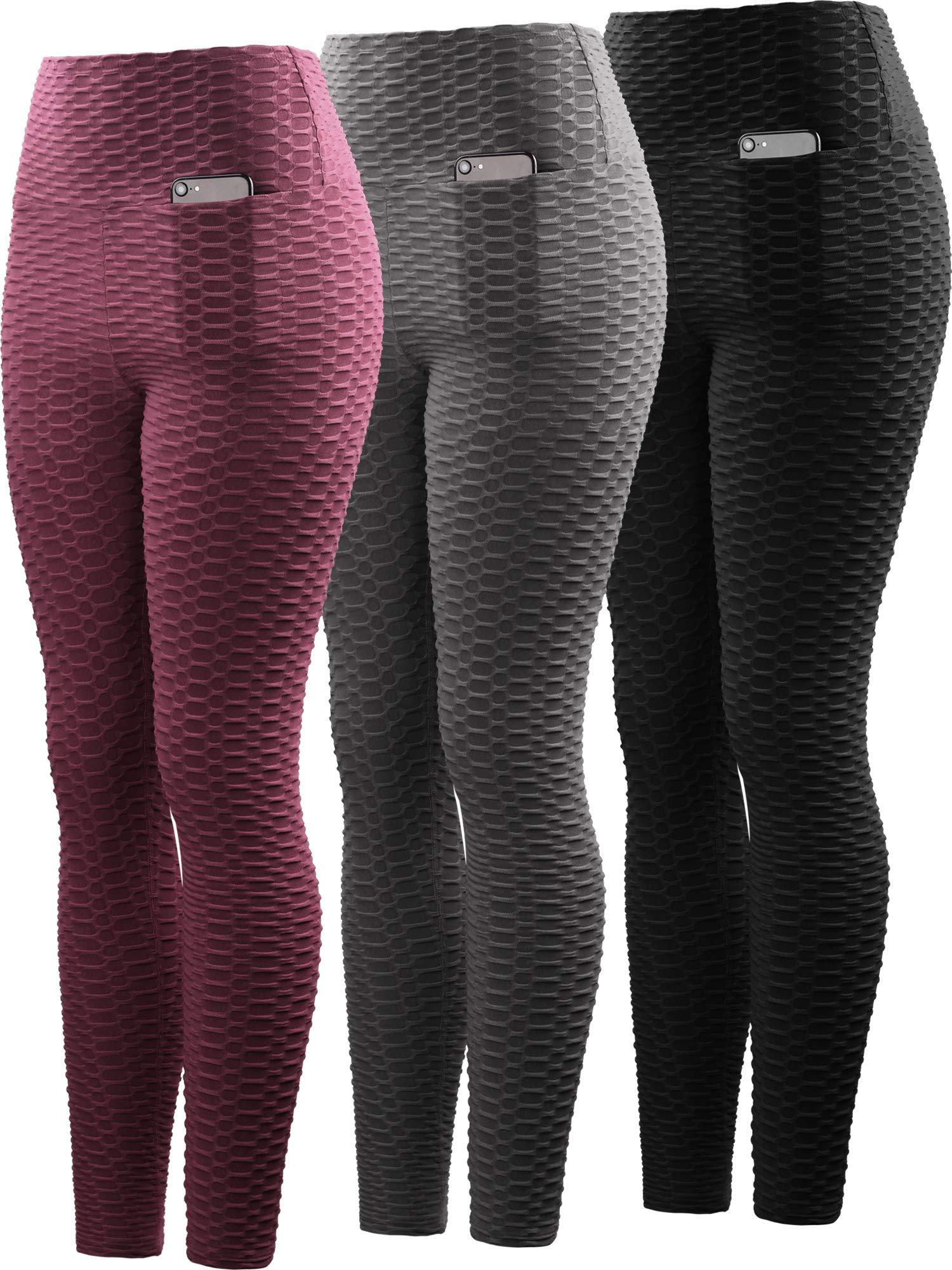 Neleus Women's 3 Pack Tummy Control High Waist Leggings Out Pocket,9036,Black/Grey/Maroon,S,EU M