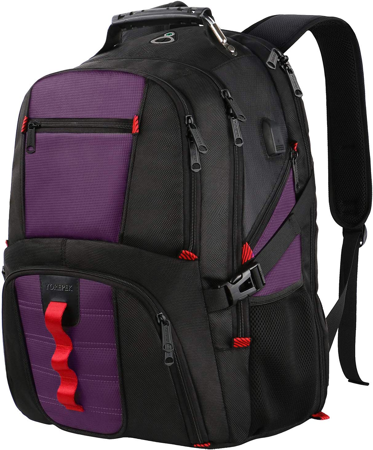 Extra Large Backpack,TSA Friendly Travel Laptop Backpack for Men Women with USB Charging Port,Business College Backpack Fits 17 Inch Notebooks,Purple