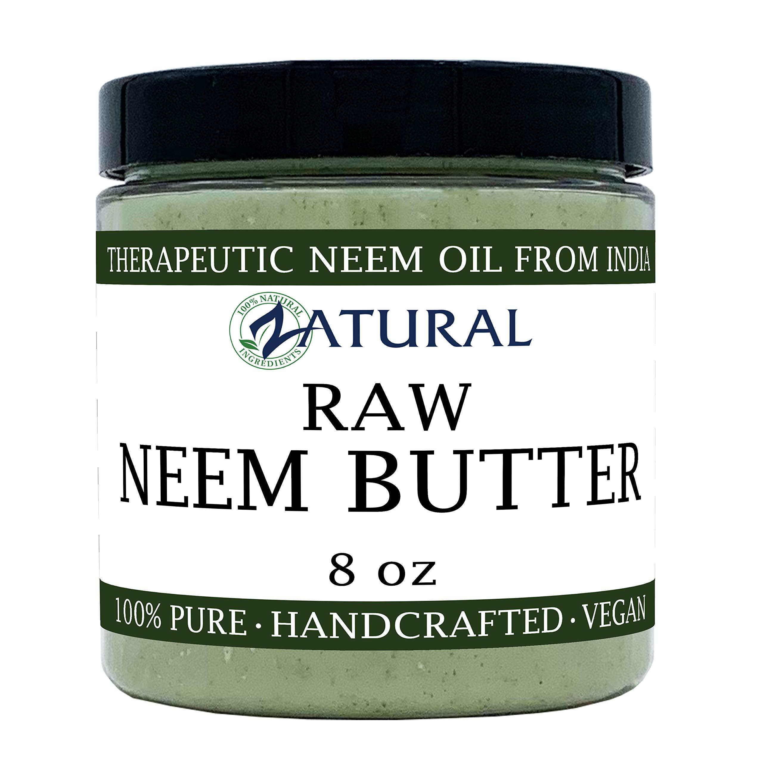 Organic Neem Butter-Shea Butter, Coconut Oil, Neem Oil, Neem Leaf, Marula Oil, Kokum Butter, Rosemary (8 Ounce) by Zatural