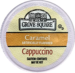 Grove Square Cappuccino Cups, Caramel, Single Serve Cup for Keurig K-Cup Brewers, 48 Count (Packaging May Vary)