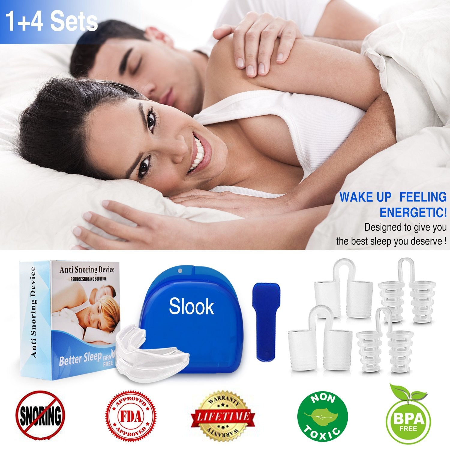 Snoring Solution Stop Snoring Mouthpiece, 4 Set Anti Snoring Nose Vents Nasal Dilators Nose Cones Snore Reduction Snore Stopper Nose Plugs Sleep AIDS Stop Snoring Devices for Men and Women