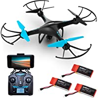 """""""U45WF"""" WiFi FPV Drones with Camera for Adults and Kids + 3 RC Drone Batteries and Camera Drone Power Bank"""