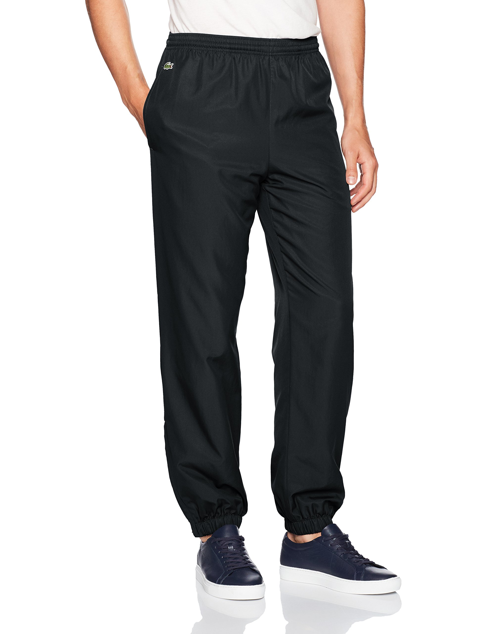 Lacoste Men's Sport Taffetta Pant with Side Zip Detail, XH120T, Black, 4X-Large