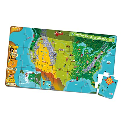Amazon Com Leapfrog Leapreader Interactive United States Map Puzzle
