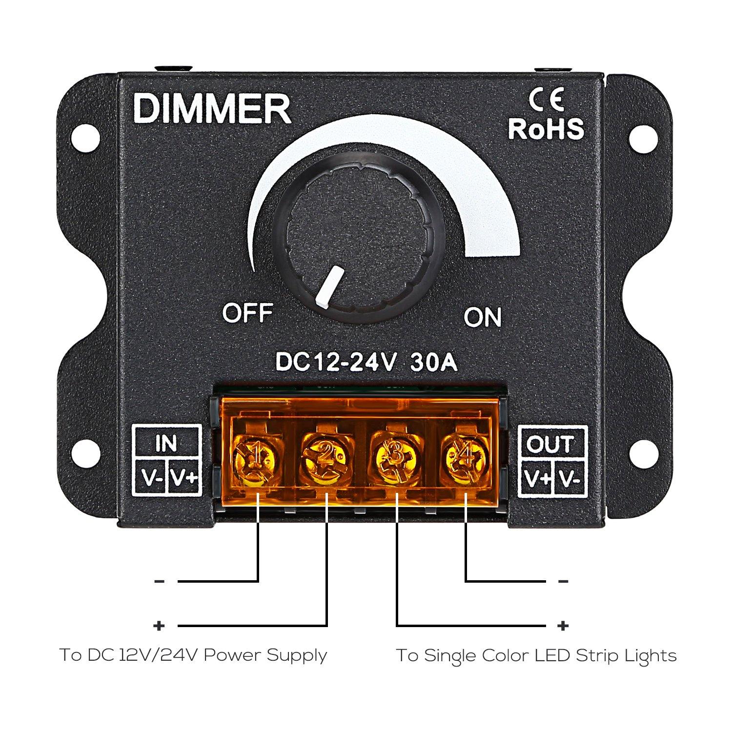 TORCHSTAR PWM Dimming Controller for LED Strip Light, DC 12V - 24V Dimmer Knob ON/OFF Switch with Aluminum Housing, Single Channel 30A 5050 3538 5630 Single Color Light Ribbon by TORCHSTAR (Image #3)