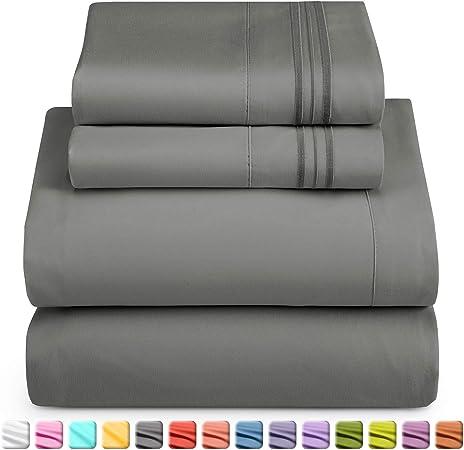 Amazon Com Queen Sheet Set Sheet Sets For Queen Bed Deep Pocket Queen Sheet Sets Soft 1800 Microfiber 4 Piece Bed Sheet Set Fitted Sheet Flat Sheet 2 Pillowcases