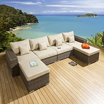aae1dde09c19 Quatropi Luxury Outdoor Garden 6 Piece Sofa Mocha Rattan / Beige S8:  Amazon.co.uk: Garden & Outdoors