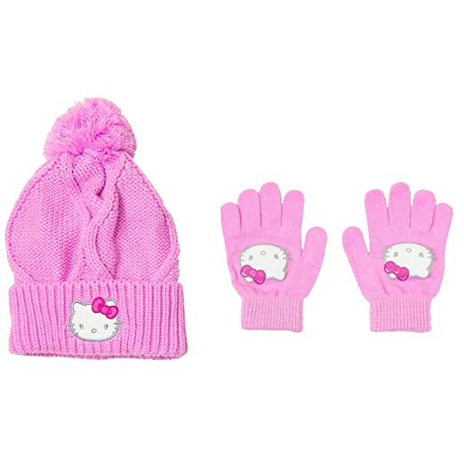 a87dc7496bf Image Unavailable. Image not available for. Color  Hello Kitty Girl s Beanie  Knit Hat and Gloves 2 Piece Set Pink