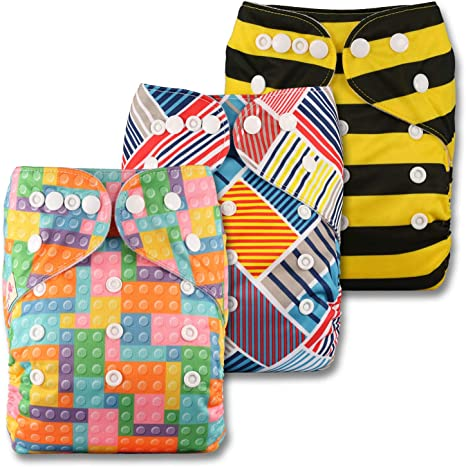Set of 5 Reusable Pocket Cloth Nappy Patterns 506 Fastener: Popper with 5 Bamboo Charcoal Inserts Littles /& Bloomz