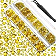 2000 Pieces Flat Back Gems Round Crystal Rhinestones 6 Sizes (1.5-6 mm) with Pick Up Tweezer and Rhinestones Picking Pen for Crafts Nail Face Art Clothes Shoes Bags DIY (Lemon Yellow)