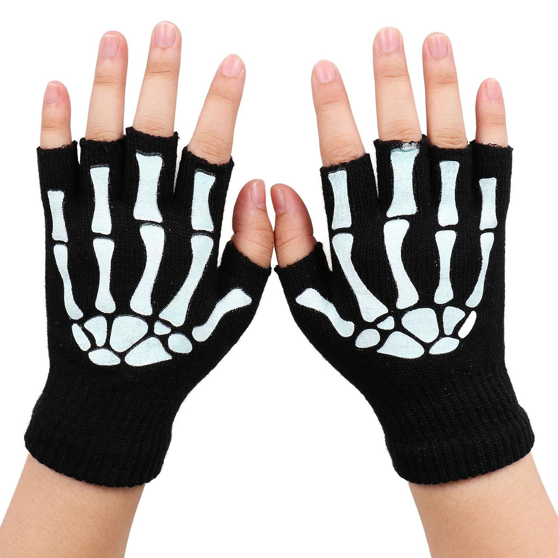 Amazon.com: Simplicity Skeleton Gloves Glow in the Dark Halloween ...
