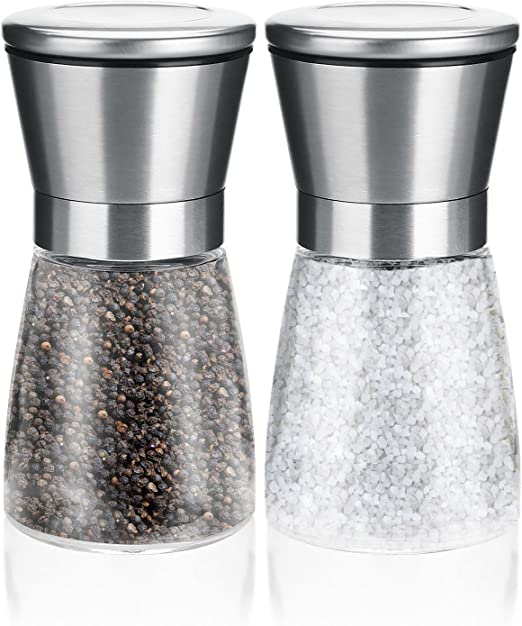 Pepper Mill , Dobet Professional Pepper Mill and Salt Mill---Stainless Steel Grinder Mill Set with Best Ceramic Rotor and Adjustable Grind Settings (2 Pack) by Dobet: Amazon.es: Hogar
