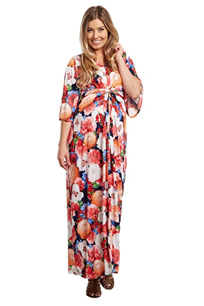 c04b8997f7ad6 PinkBlush Maternity Navy Blue Floral Wrap Maxi Dress, Small: Amazon ...
