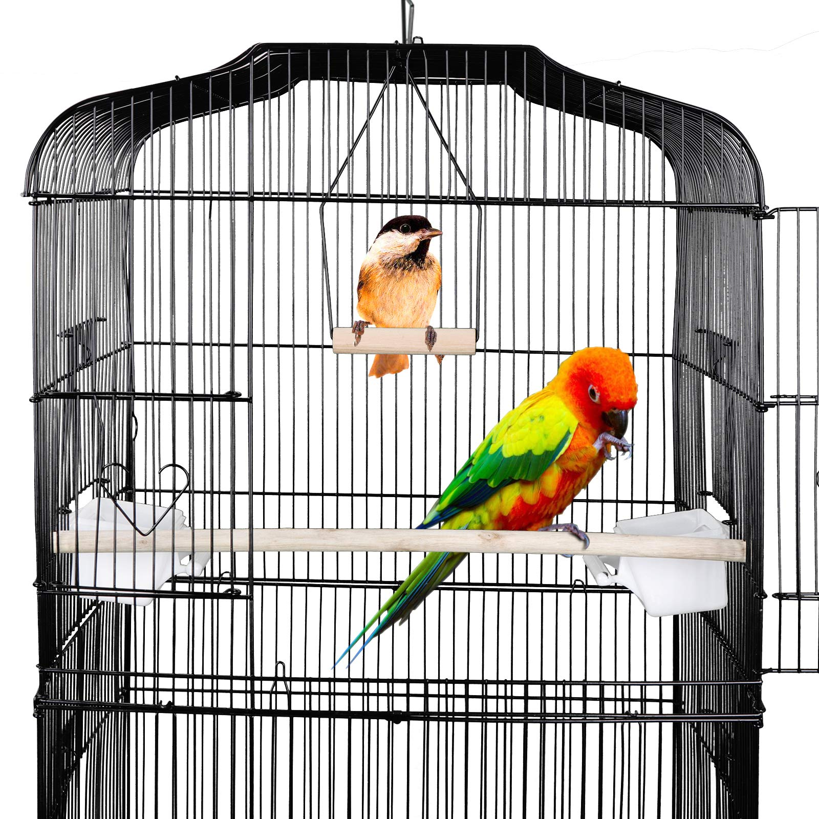 ZENY 59.3'' Bird Cage for Cockatiel Sun Conure Parakeet Finch Budgie Lovebird Canary Medium Pet Bird Cage with Rolling Stand by ZENY